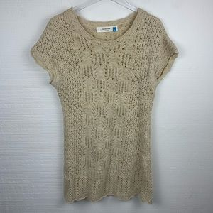 Anthropologie Sparrow Tan Knit Short Sleeve Tunic